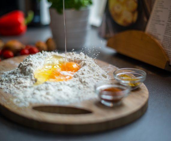 Breaking Egg Dough Kitchen Recipe Cooking Food